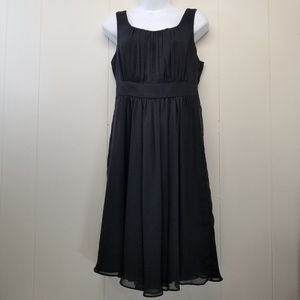 White House Black Market 4 Dress Black LBD Smocked